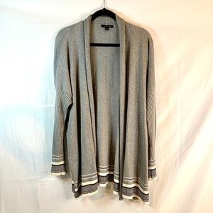 Tommy Hilfiger gray open XL ribbed sleeve cardigan